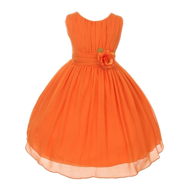 244dd42ff24b7 Shop Good Girl Little Girls Orange Floral Chiffon Flower Girl Easter ...
