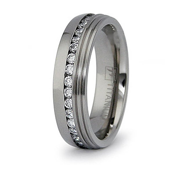 6mm Eternity Titanium Ring with CZ (Sizes 8-12)