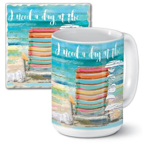 Counterart 15 Oz Ceramic Mug & Absorbent Stone Coaster Gift Set - Beach Daze - 9x6x4.014