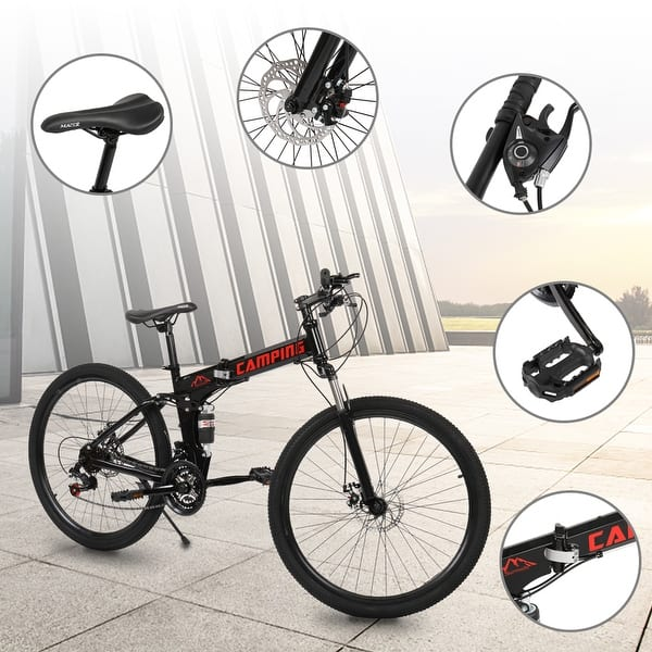 24 Speed Foldable Mountain Bike 24in Red Full Suspension Front /& Rear Easy Carry