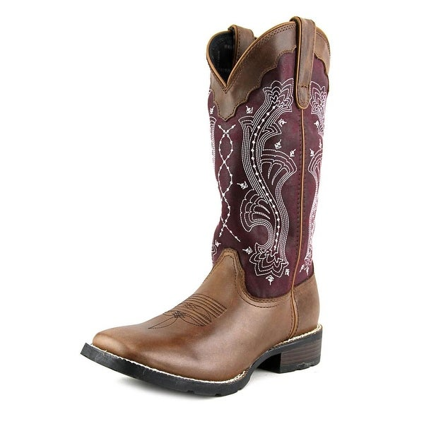 """Durango Mustang 12"""" Western Women Square Toe Leather Brown Western Boot"""