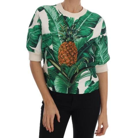 Dolce & Gabbana Pineapple Banana Sequins Crewneck Sweater