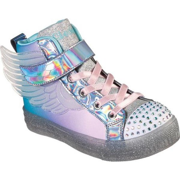 3c9edc6654150 Skechers Girls' Twinkle Toes Shuffle Brights Sparkle Wings Sneaker  Silver/Multi