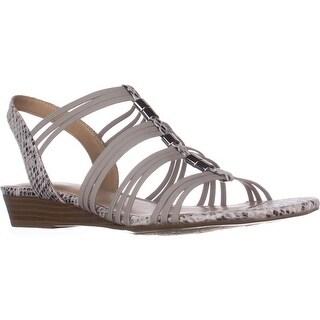 naturalizer Jilly Low-Heel Comfort Sandals, Grey Snake Fabric