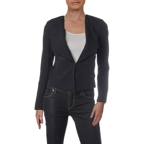 Tahari ASL Womens Petites Collarless Blazer Rivet-Detail Office Wear