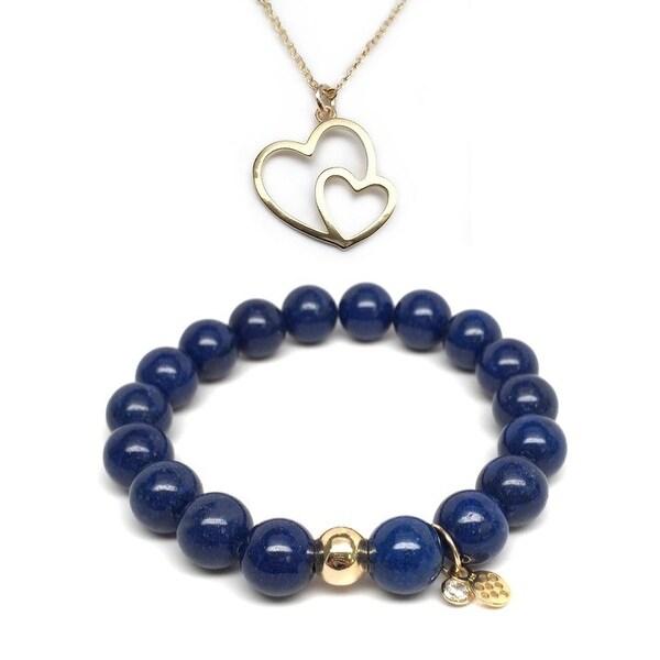 "Blue Jade 7"" Bracelet & Double Heart Gold Charm Necklace Set"