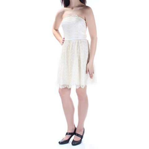 BCBGENERATION Womens Ivory Lace Fringed Sleeveless Strapless Above The Knee Fit + Flare Dress Size: 12