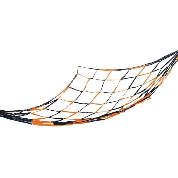 Unique Bargains Camping Travel Hang Sleeping Meshy Net Black Orange Hammock Bed