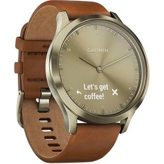 Garmin Vivomove HR Premium Sport Watch Gold Tone with Leather Band (Small/Medium)