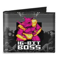 Boss Rhino Neff 16 Bit Boss + Golden Wolf Rhino Battle Grays Canvas Bi Fold Canvas Bi-Fold Wallet One Size - One Size Fits most