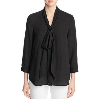Finity Womens Blouse Tie Neck Hi Low