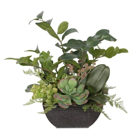 Silk ZZ Plant Artificial Succulent Arrangement in Square Brown Pot - 21W x18D x 15H