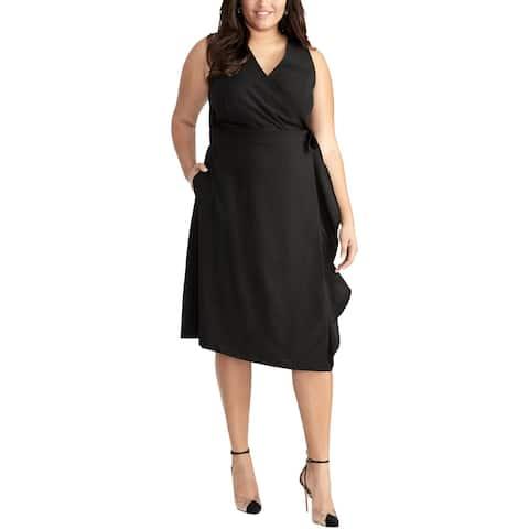 Rachel Rachel Roy Womens Plus Etta Wrap Dress Surplice Officewear