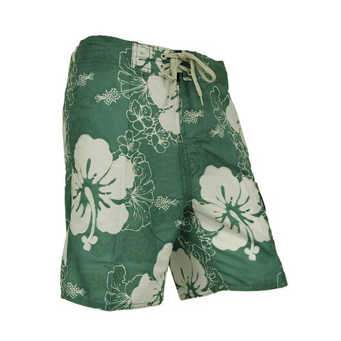 Mens Hibiscus Flower Drawstring Island Board Shorts