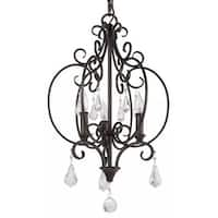 """Park Harbor PHHL6203 Jefferson Commons 14"""" Wide 3 Light Single Tier Cage Style Chandelier with Glass Accent Drops"""