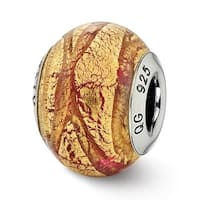 Italian Sterling Silver Reflections Copper & Gold Colored Glass Bead (4mm Diameter Hole)