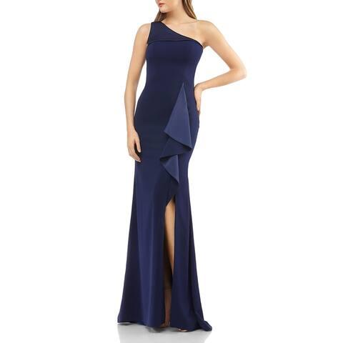 Carmen Marc Valvo Womens Formal Dress Satin Ruffled - Midnight
