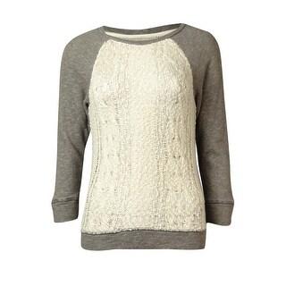 Lucky Lotus Women's Open Knit Panel Sweater