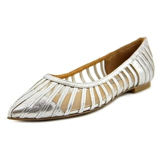 Kay Unger Kallie Women Pointed Toe Leather Silver Flats