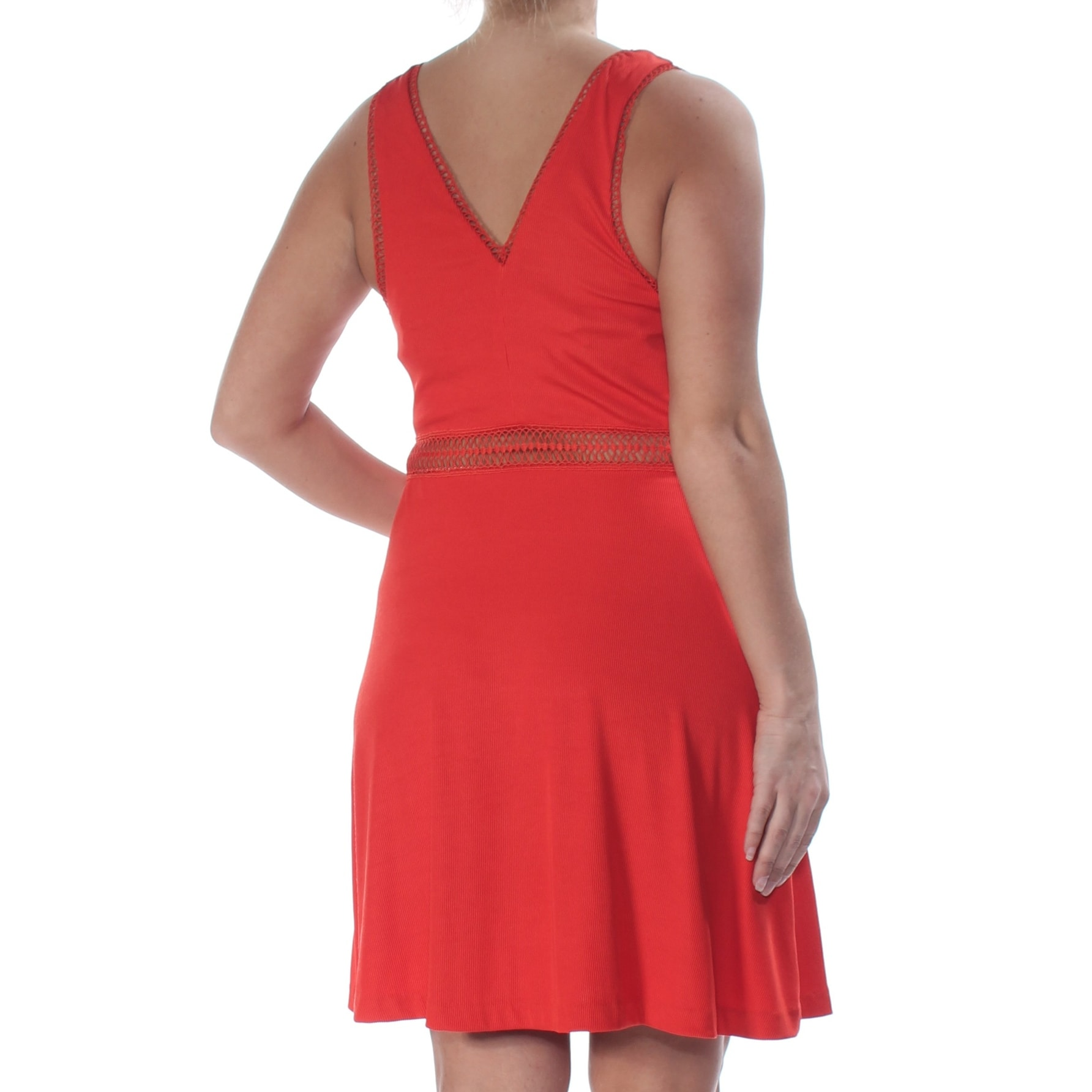 Free People Womens Red Lace Inserts Sleeveless V Neck Above The Knee Fit Flare Dress Size 2