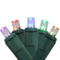 Set of 50 Color Changing LED Wide Angle Christmas Lights -Green Wire