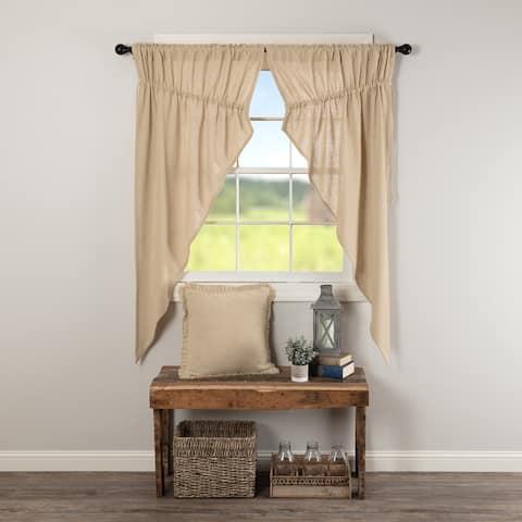 Farmhouse Curtains VHC Cotton Burlap Short Prairie Panel Pair Rod Pocket Cotton Solid Color - Prairie Panel 63x36