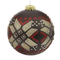 "Black Matte Jeweled Glittery Aztec Glass Ball Christmas Ornament 4"" (100mm)"