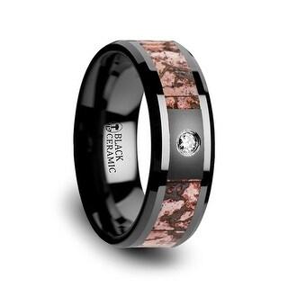 Thorsten Pink Dinosaur Bone Inlaid Black Ceramic Diamond Wedding Band with Beveled Edges - 8mm