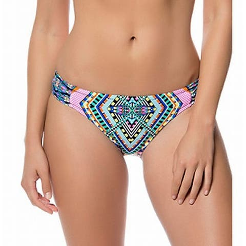 Jessica Simpson Blue Womens Size Large L Geo Bikini Bottom Swimwear
