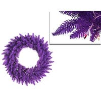 "36"" Pre-Lit Purple Ashley Spruce Christmas Wreath - Clear & Purple Lights"