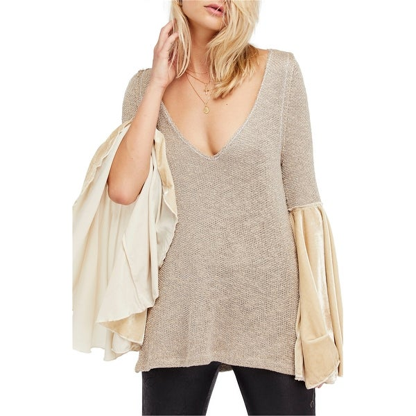 Free People Womens Bell Sleeve Tunic Sweater, black, X Small