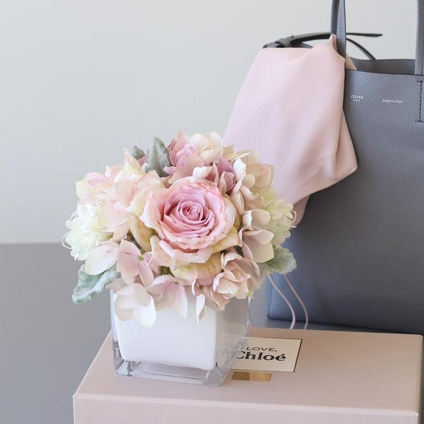 Mademoiselle Plush Pink Rose Hydrangea Floral in Glass Vase
