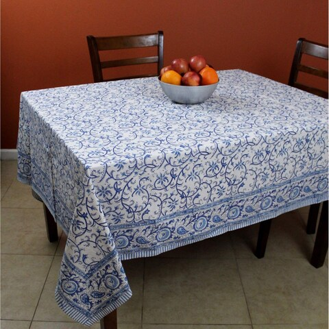 Block Print Rectangular Tablecloth, Rajasthan Floral Vine Cotton Table Linen