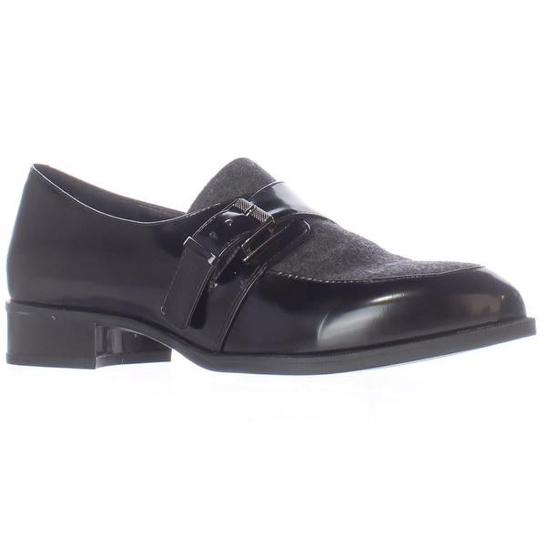 Nine West Norella Buckle Strap Loafers, Black/Dark Grey