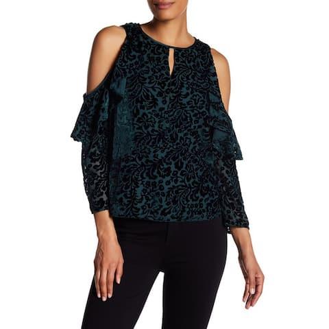Nanette Lepore Women's Cold Shoulder Long Sleeve Velvet Top, Evergreen, Small