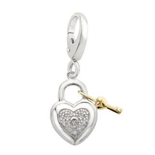 Heart Lock Charm with Diamonds in Sterling Silver & 14K Gold