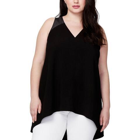 Rachel Roy Womens Plus Halter Top Criss-Cross Back Solid