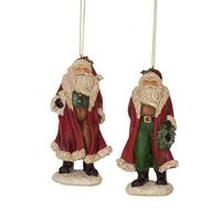 Set of 2 Red White and Green Santa Claus Christmas Ornaments 4.5""