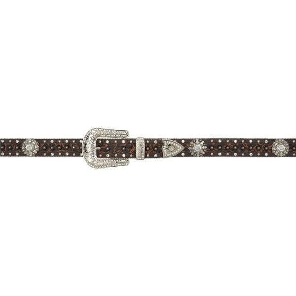 Angel Ranch Western Belt Women Embossed Inlay Berry Concho Brown