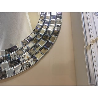 Palmer Frosted Tile Silver Finish Round Accent Wall Mirror by iNSPIRE Q Bold