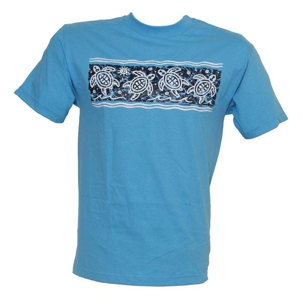 Men's Tropical Turtle Print Cotton T Shirt, Light Blue