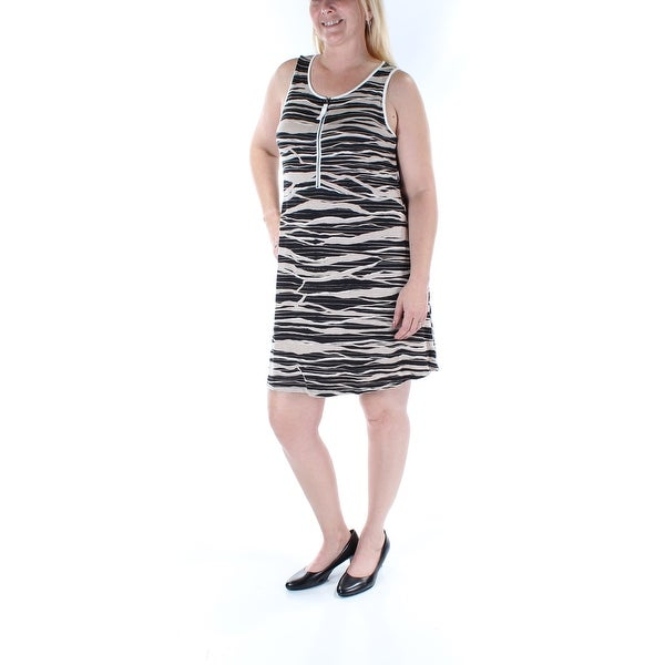 0daeaa882705b7 Shop JOSEPH A Womens Black Animal Print Sleeveless Scoop Neck Above The  Knee Shift Dress Size  L - Free Shipping On Orders Over  45 - Overstock.com  - ...