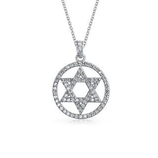 Hanukkah Jewish Bat Mitzvah Pave Cubic Zirconia CZ Disc Star Of David Pendant Necklace For Women 925 Sterling Silver