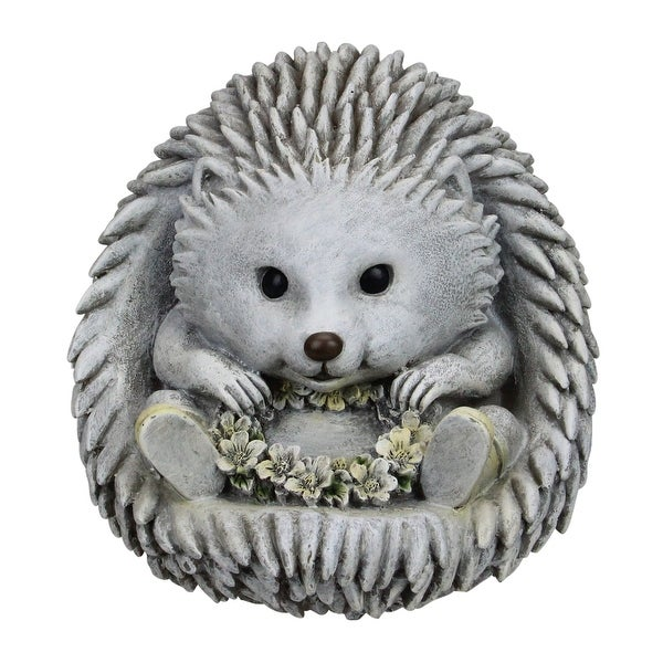 """7.5"""" Gray and White Outdoor Hedgehog in Rain Boots Garden Statue - N/A"""