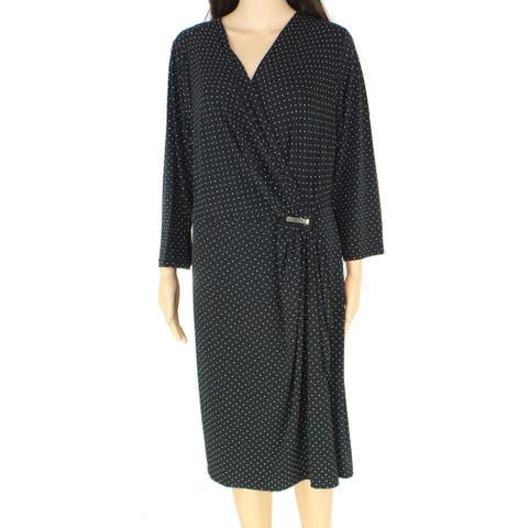 Charter Club Women's Wrap Dress Black Size 1X Plus Polkadot Hardware