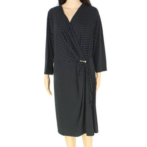 Charter Club Womens Faux-Wrap Dress Black Size 1X Plus Polka Dot Draped
