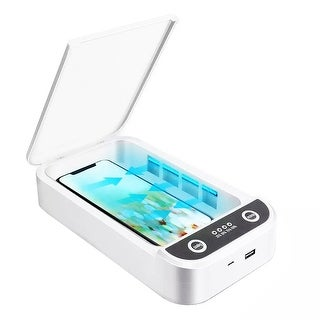 Indigi® Advanced UV-C LED Sterilization Cleaning Box for iOS & Android Phones , Jewelry, Keys, Glasses w/ USB Charging Port