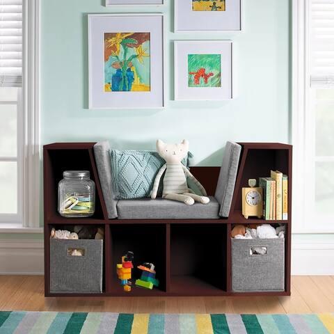 Veikous 25'' Kids Reading Nook Storage Bookshelf with Detachable Cushions