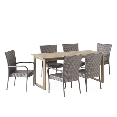 Nibley Outdoor Acacia Wood and Wicker Outdoor 7 Piece Dining Set by Christopher Knight Home
