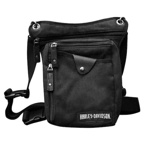 "Harley-Davidson C4 Convertible Leg Waist Pack & Crossbody Bag - Black Canvas - 12.625"" x 18"" x 5.875"""